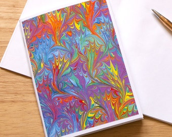 Marbled Paper Design Notebook no.11, Mini Journal, Small Jotter, Travel Notebook, Mini Diary, Rainbow Notebook, Eco-Friendly