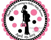 Pregnant Mommie Personalized Silhouette Stickers, Labels, Address Labels,Baby Shower Stickers, Polka Dots