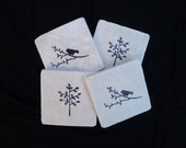 Bird and Tree Coasters Tumbled Marble Tile Hand Stamped Set of Four Black