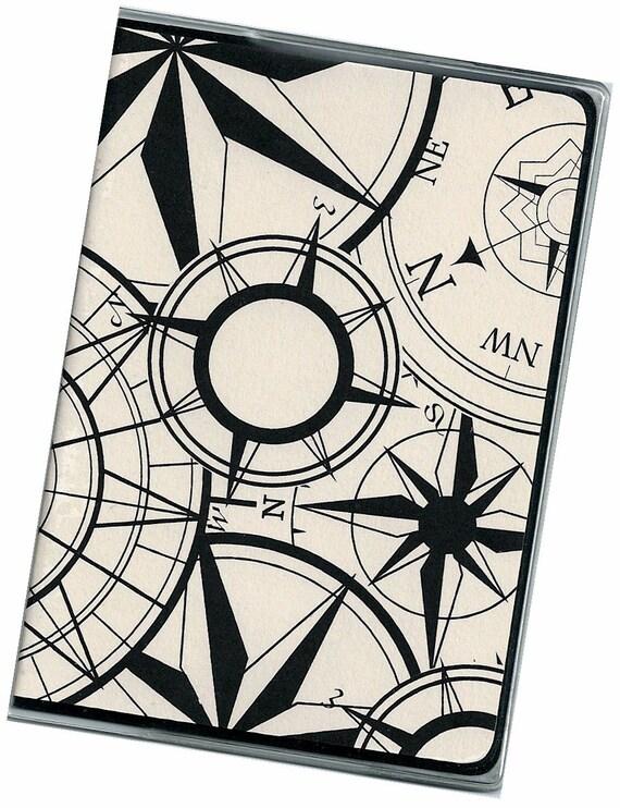 Passport Cover - Black Compass on Ivory travel wallet passport holder 7