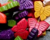 RAINBOW Turquoise Magnesite Butterfly Beads Pendants 10