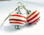 Red white swirl glass bead sterling silver earrings Candy cane