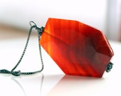 Rust orange necklace, red crab fire agate pendant, sterling silver necklace