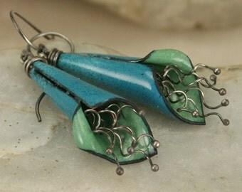 Copper Enamel Flower Earrings Green Blue Boho Natural Earthy Modern