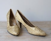 Vintage Frida Gold Lame High Heel Shoes for Women - Size 7 - JustSmashingDarling