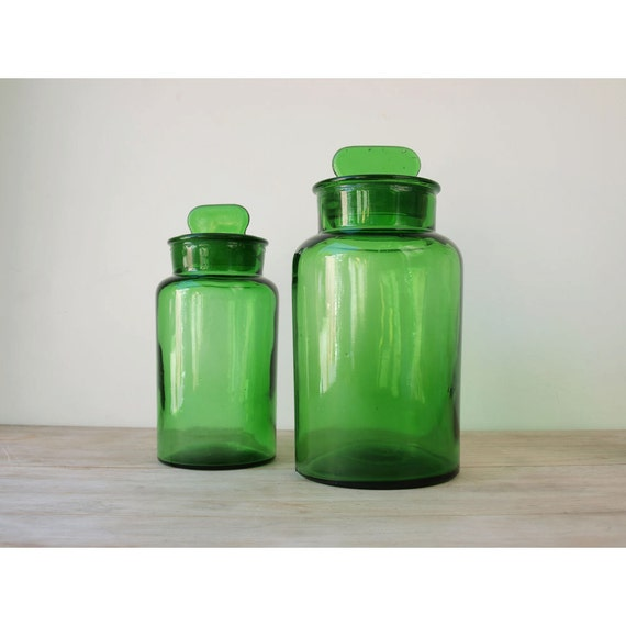 Antique Apothecary Bottle Collection - Set of 2 - Green