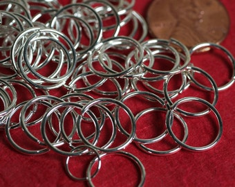 Jump ring silver plated on brass 12mm in diameter, 18g thick, 50 pcs (item ID SPJR12m18G)