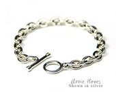 Silver Charm Bracelet Link Chain with Toggle Clasp in Shiny Silver. CBSS-B
