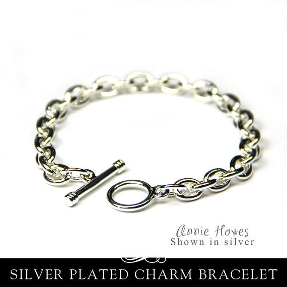 Toggle Charm Bracelet: Silver Charm Bracelet Link Chain With Toggle Clasp In Shiny