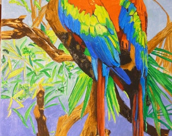 Crimson Macaw Pair Memorial Pet Portrait Original Oil 11 x 14 inch You Provide The Pictures Or Ideas Made to Order by Pigatopia