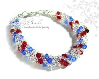 Swarovski bracelet, Red, White and Blue Twisty Swarovski Crystal Bracelet by CandyBead