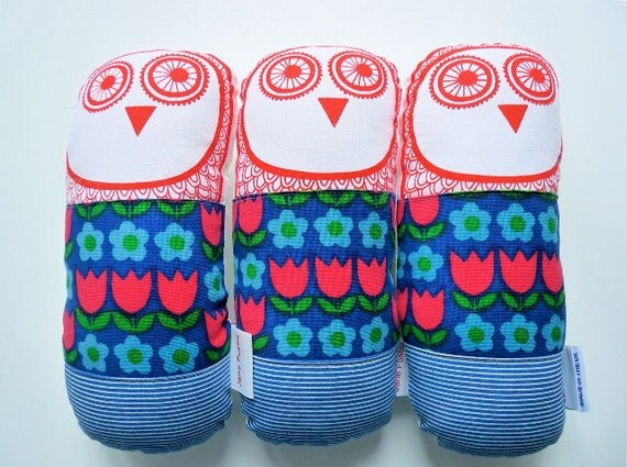 70s vintage fabric owl plush toy softie by Jane Foster Scandinavian tulip flowers