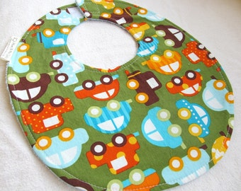 Baby Boy Bib - Cars in Green - Ready Set Go Organic cotton bib with light blue terry cloth backing and snagfree velcro closure