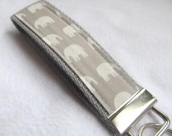 Wristlet Key Fob Key Chain - Tiny Kawaii Elephants on Grey