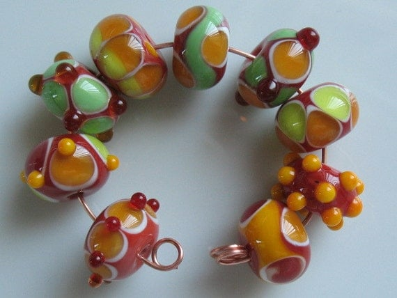 Set of nine handmade lampwork beads-handmade glass beads-SRA