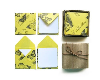 Yellow Butterflies, Mini Stationery Set, Blank Note Cards, Yellow Envelopes, Square Envelopes, White Cards, Folded Cards, Small Envelopes