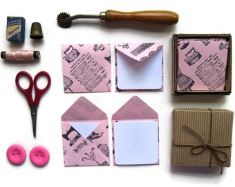 Sewing Notions Stationery Set, Pink Small Envelopes, Blank Note Cards, Greetings, Gifts Tags, Dressmaker, Thank You, Haberdashery, Under 15