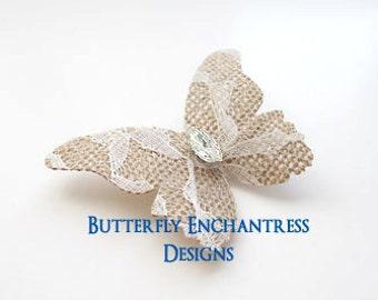 Burlap Lace Wedding, Bridal Hair Accessories, Rustic Woodland Wedding - Lace Burlap Butterfly Hair Comb - Clear Rhinestone