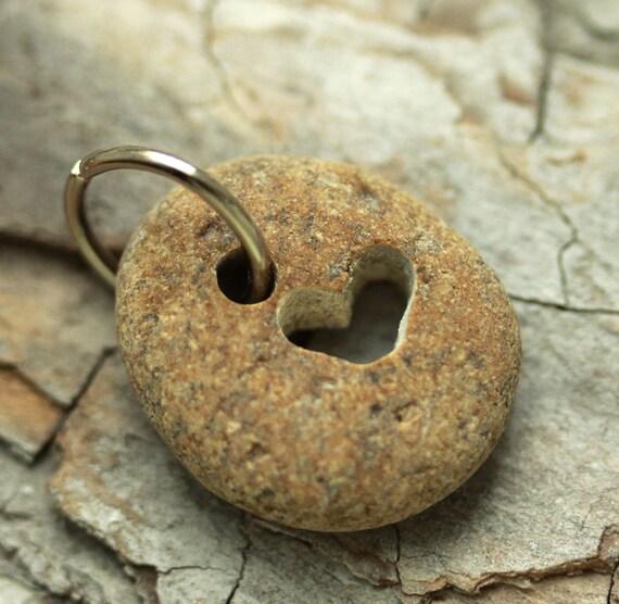 Alaska Beach Stone, Charm or Pendant, Carved Heart