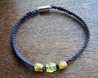 Brown Cotton Macrame Anklet With Sparkly Yellow Butterfly Beads