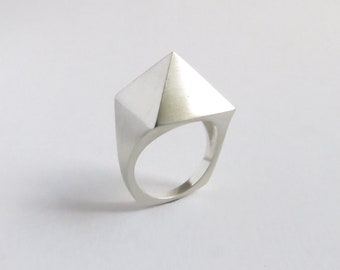 Sterling Silver Pyramid Minimalist Facet Ring