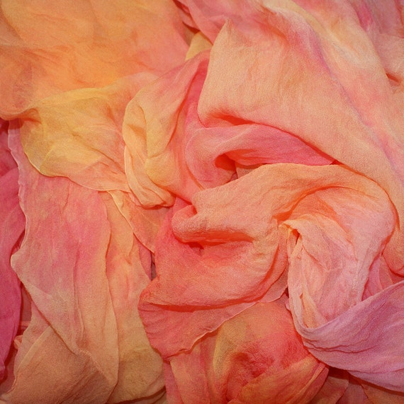 SPRING FANTASY in  Hand Dyed Silk Gauze for Nuno Felting