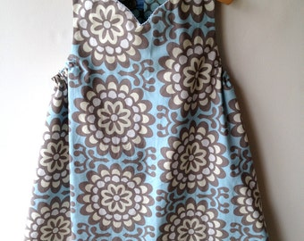 Reversible Jumper Dress in sky blue, cream, and gray, sizes 12m 2T 3T 4T