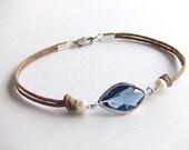Sapphire Eye Bracelet - September Birthstone - Blue Evil Eye Bracelet - Silver Bracelet - Women Gift - Gift for Her