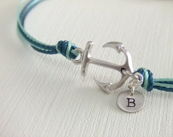Sailor Anchor Jewelry Bracelet - Silver Anchor Charm - Personalized Jewelry - Under 25 - Initialized Letter - Blue Cord - Gift for Her