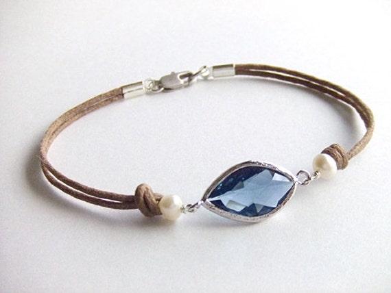 Sapphire Eye Jewelry Bracelet - September Birthstone - Silver Bracelet