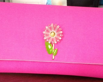 Hot Pink Clutch with a Flower Broach
