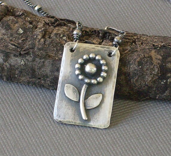 Sterling Silver Flower Pendant Hand Forged Metalwork Necklace Dog Tag Style Pendant