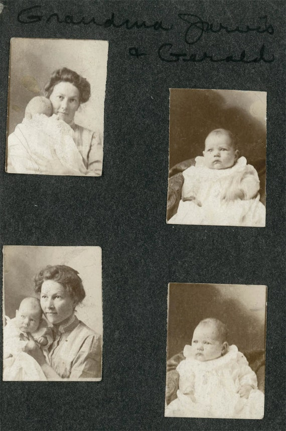 vintage photo Baby Gerald and Grandma 4 gem miniatures