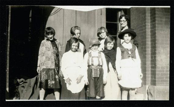 vintage photo TEacher and Children Halloween