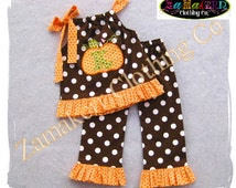 Custom Boutique Girl Fall Thanksgiving Pumpkin Outfit Turkey Clothing Personalized Pant Dress Set 6 9 12 18 24 month size 2T 3T 4T 5T 6 7 8