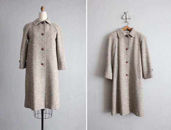 vintage gray tweed wool walking coat