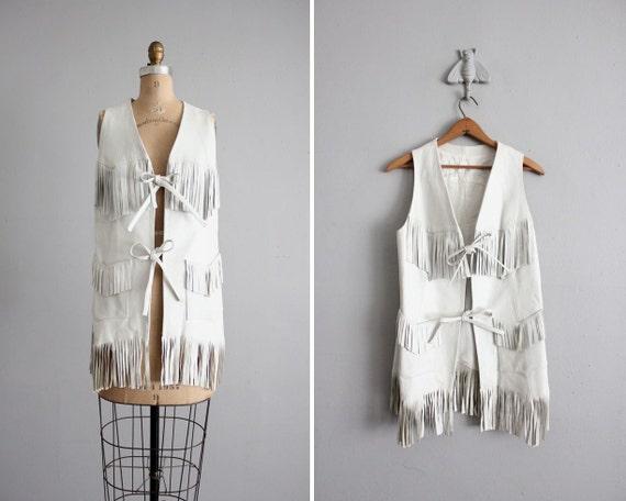 1970s vintage white leather fringe vest jacket