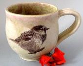 Reserved for Mariah - Coffee Mug - Chubby Sparrow - 14 oz  - Hand Thrown Stoneware