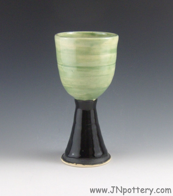 Stoneware / Ceramic / Pottery Goblet / Chalice / Stemmed Cup, Wine Vessel, Celadon and Gloss Black  m117