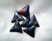 6 Triangle Raku Beads, Ceramic Beads, Clay Beads, Loose Beads, Pottery Beads, Geometric Beads (aat)
