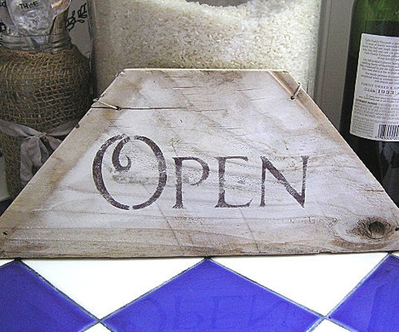Vintage Reclaimed Wood Rustic Prairie Patina OPEN CLOSED Reversible Sign
