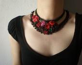 Lamprocapnos Spectabilis  ... Freeform Beaded Crochet Necklace - Pink Red Burgundy Beige Cream Green - Beadwork Statement Bib