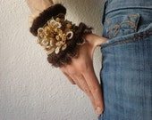 Asclepias Eriocarpa  ... Freeform Crochet Cuff - Flowers -  Cream Ivory Gold Beige Brown - Beaded Beadwork