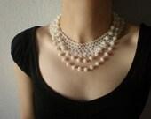Grace - White ... Beaded Crochet Necklace - Beadwork