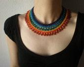 Allure -  Purple Emerald Green Yellow Orange Red... Beaded Crochet Necklace - Beadwork