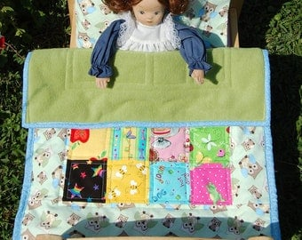 Doll Quilt Pillow and Pillowcase Set:  Owls on Pastel Green - Ready to Ship