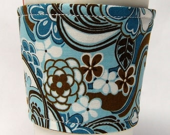 Coffee Cozy/Cup Sleeve, Eco Friendly, Slip-on, Teacher Appreciation, Co-Worker Gift, Bulk Discount:  Brown and Blue Floral Print