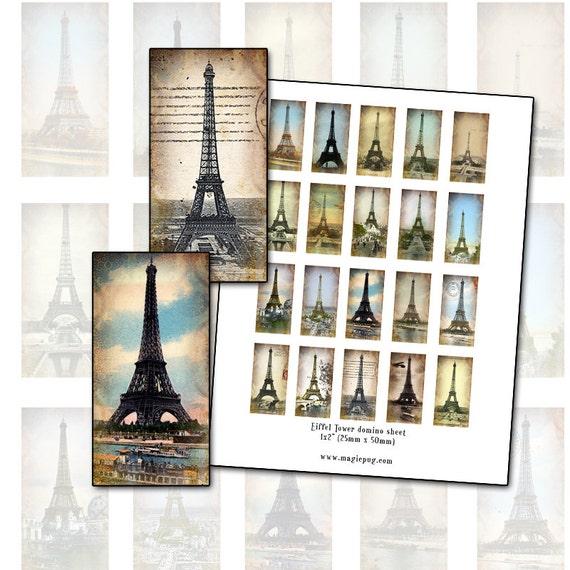 "Eiffel Tower Altered Art domino digital collage sheet 1x2"" 25mm x 50mm Paris France"