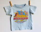 Vintage 1950s Michigan souvenir shirt, Land of Great Waters