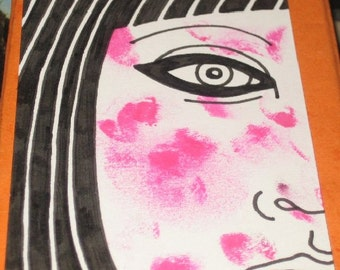 Original Drawing ACEO  Black and White Woman with a Rash Face Design